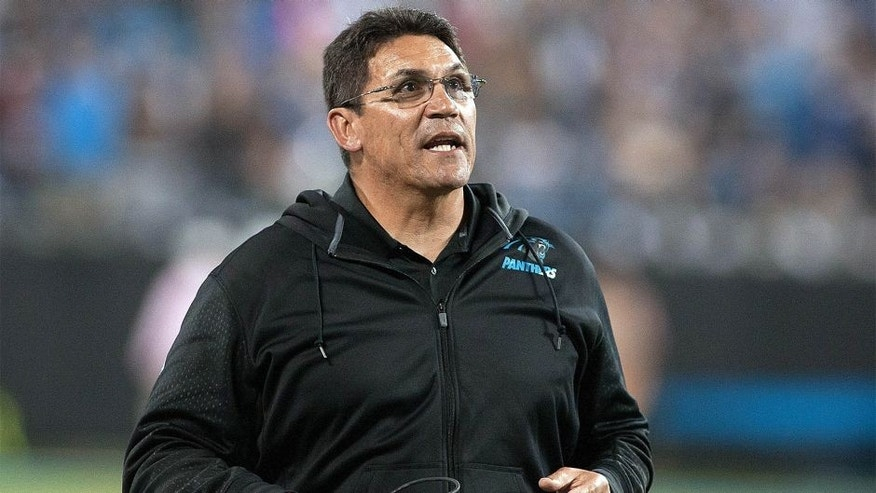 Oct 25, 2015; Charlotte, NC, USA; Carolina Panthers head coach Ron Rivera argues a call during the fourth quarter against the Philadelphia Eagles at Bank of America Stadium. Carolina defeated Philadelphia 27-16. Mandatory Credit: Jeremy Brevard-USA TODAY Sports