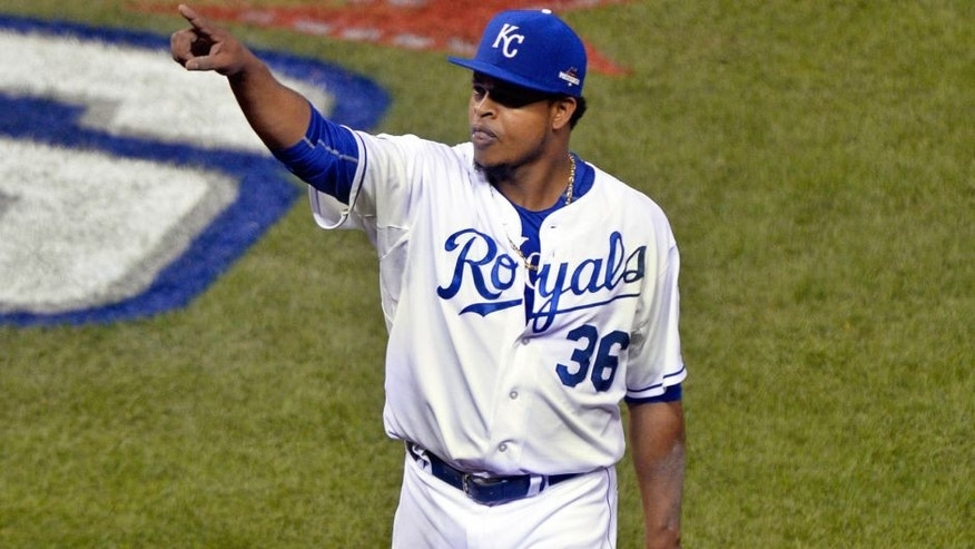 Oct 16, 2015; Kansas City, MO, USA; Kansas City Royals starting pitcher Edinson Volquez (36) reacts after getting out of the sixth inning against the Toronto Blue Jays in game one of the ALCS at Kauffman Stadium. Mandatory Credit: John Rieger-USA TODAY Sports