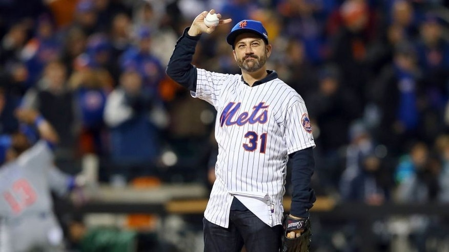 NEW YORK, NY - OCTOBER 18: Television host Jimmy Kimmel waves to the crowd prior to his first pitch before game two of the 2015 MLB National League Championship Series between the Chicago Cubs and the New York Mets at Citi Field on October 18, 2015 in the Flushing neighborhood of the Queens borough of New York City. (Photo by Elsa/Getty Images)