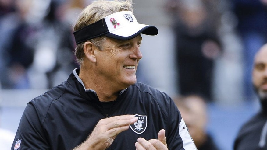 Oct 4, 2015; Chicago, IL, USA; Oakland Raiders head coach Jack Del Rio claps before the game against the Chicago Bears at Soldier Field. Mandatory Credit: Matt Marton-USA TODAY Sports
