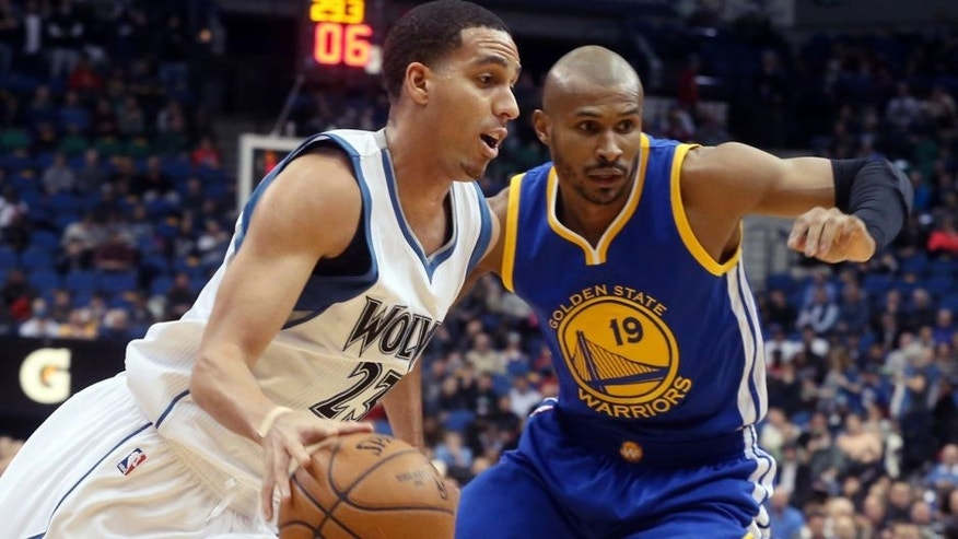 <p>Minnesota Timberwolves' Kevin Martin, left, drives around Golden State Warriors' Leandro Barbosa of Brazil in the first quarter of an NBA basketball game, Wednesday, Feb. 11, 2015, in Minneapolis. (AP Photo/Jim Mone),Minnesota Timberwolves' Kevin Martin, left, drives around Golden State Warriors' Leandro Barbosa of Brazil in the first quarter of an NBA basketball game, Wednesday, Feb. 11, 2015, in Minneapolis. (AP Photo/Jim Mone)</p>