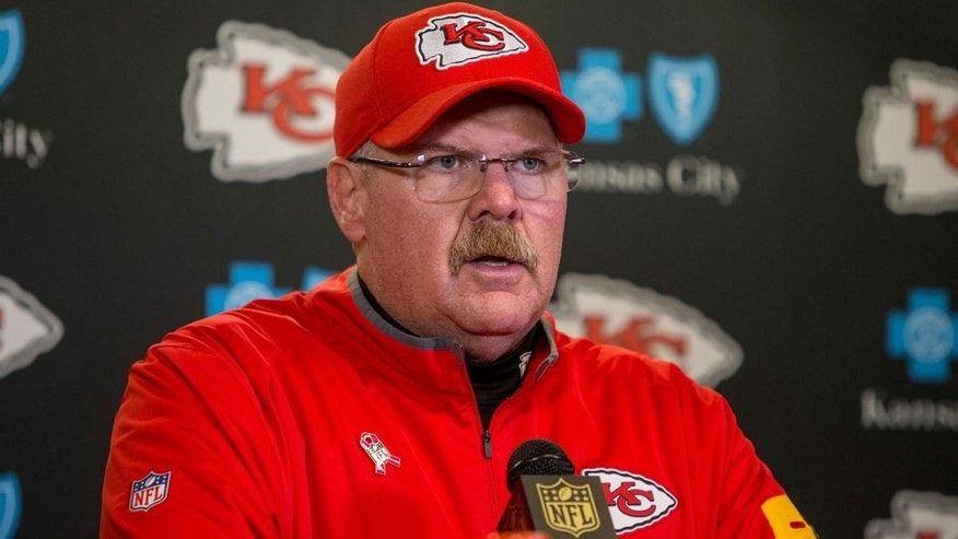 Oct 18, 2015; Minneapolis, MN, USA; Kansas City Chiefs head coach Andy Reid speaks with the media after the game against the Minnesota Vikings at TCF Bank Stadium. The Vikings win 16-10. Mandatory Credit: Bruce Kluckhohn-USA TODAY Sports