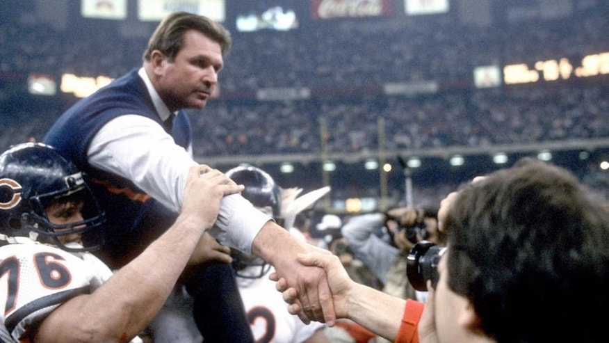 NEW ORLEANS, LA - JANUARY 26: Head Coach Mike Ditka of the Chicago Bears gets carried off the field after they defeated the New England Patriots in Super Bowl XX January 26, 1986 at the Louisiana Superdome in New Orleans, Louisiana. The Bears won the Super Bowl 46-10. (Photo by Focus on Sport/Getty Images)