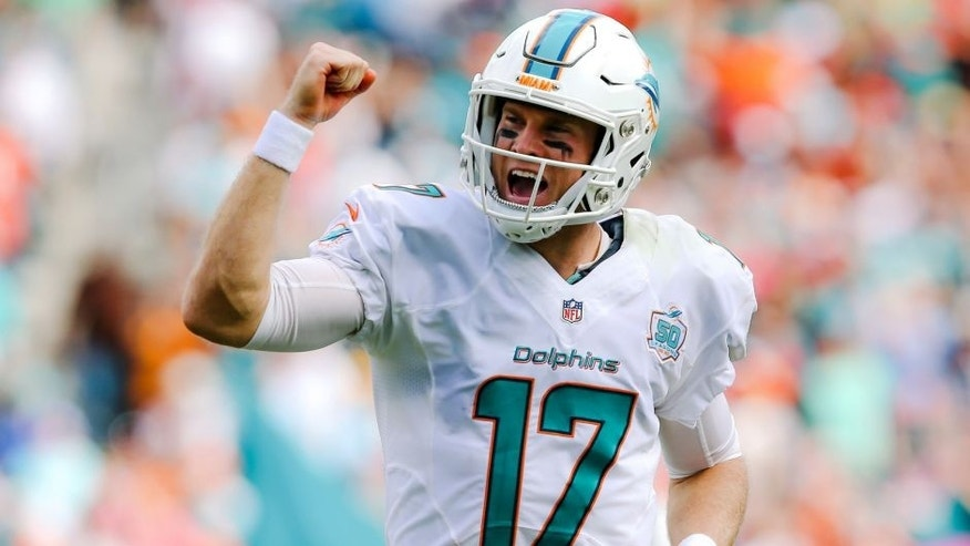 Oct 25, 2015; Miami Gardens, FL, USA; Miami Dolphins quarterback Ryan Tannehill (17) celebrates after running back Lamar Miller (not pictured) scors a touchdown against the Houston Texans during the first half at Sun Life Stadium. Mandatory Credit: Steve Mitchell-USA TODAY Sports