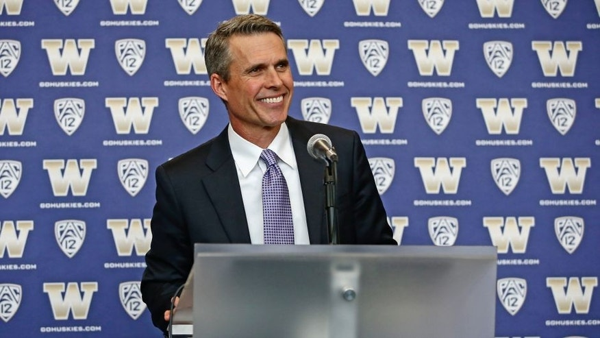 SEATTLE, WA - DECEMBER 09: Newly hired head coach Chris Petersen of the Washington Huskies speaks to members of the media at his introductory press conference on December 9, 2013 at Husky Stadium in Seattle, Washington. (Photo by Otto Greule Jr/Getty Images)