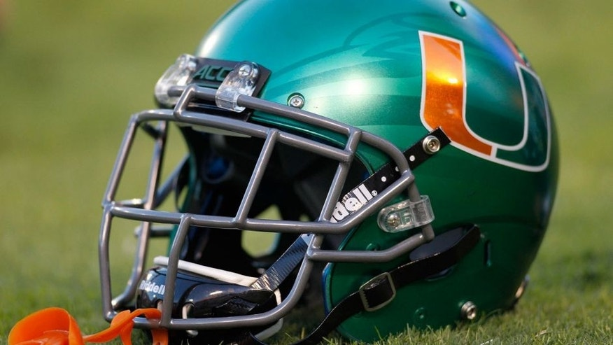 Oct 4, 2014; Atlanta, GA, USA; Miami Hurricanes helmet on the field before a game against the Georgia Tech Yellow Jackets at Bobby Dodd Stadium. Mandatory Credit: Brett Davis-USA TODAY Sports