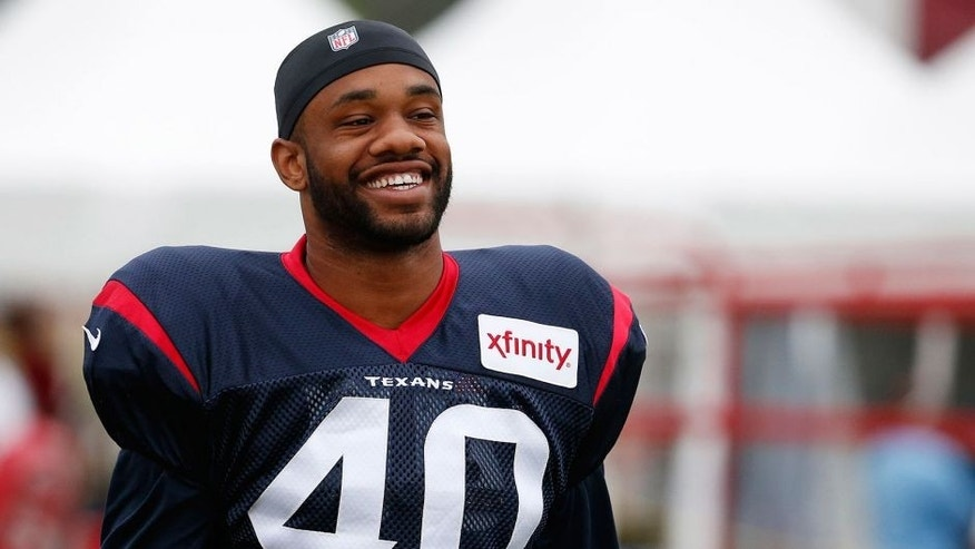 Aug 7, 2015; Richmond, VA, USA; Houston Texans free safety Kurtis Drummond (40) smiles prior to joint practice with the Washington Redskins as part of day eight of training camp at Bon Secours Washington Redskins Training Center. Mandatory Credit: Amber Searls-USA TODAY Sports