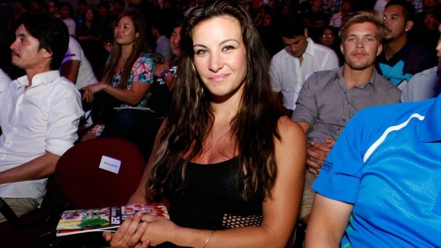 MANILA, PHILIPPINES - MAY 16: UFC women's bantamweight, Miesha Tate is in the audience during the UFC Fight Night event at the Mall of Asia Arena on May 16, 2015 in Manila, Philippines. (Photo by Mitch Viquez/Zuffa LLC/Zuffa LLC via Getty Images)