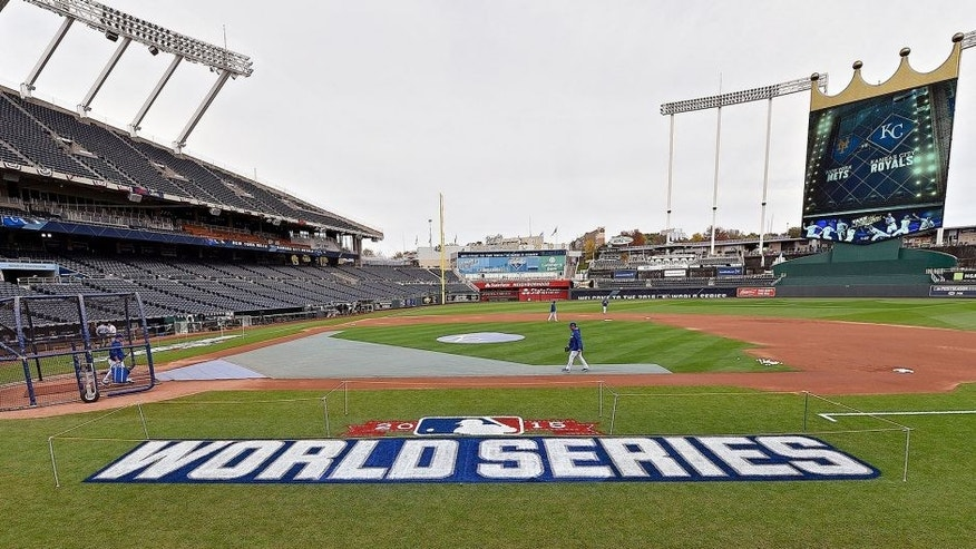 The 2015 World Series logo before the World Series workout for the Kansas City Royals and New York Mets on Monday, Oct. 26, 2015, at Kauffman Stadium in Kansas City, Mo. (John Sleezer/Kansas City Star/TNS via Getty Images)