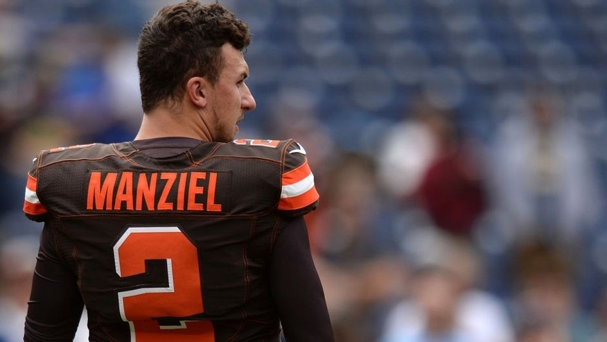 Oct 4, 2015; San Diego, CA, USA; Cleveland Browns quarterback Johnny Manziel (2) looks on before the game against the San Diego Chargers at Qualcomm Stadium.