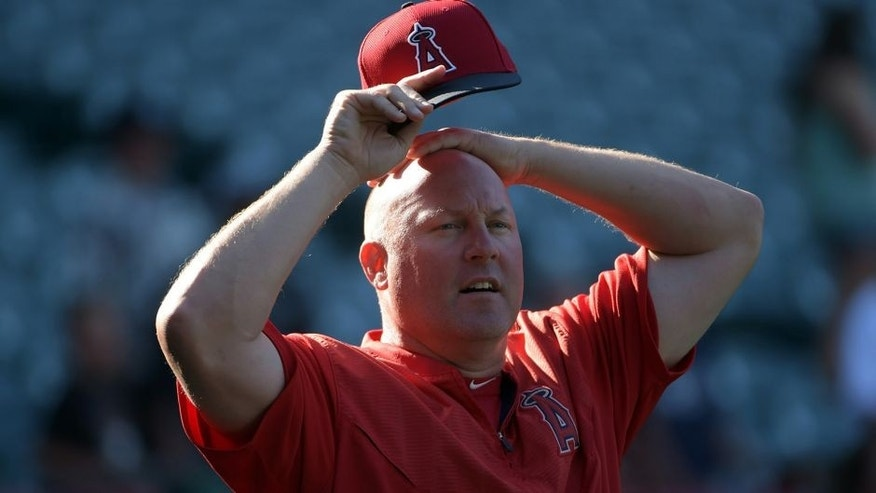 Aug 3, 2015; Anaheim, CA, USA; Los Angeles Angels pitching coach Mike Butcher before the game against the Cleveland Indians at Angel Stadium of Anaheim. Mandatory Credit: Kirby Lee-USA TODAY Sports