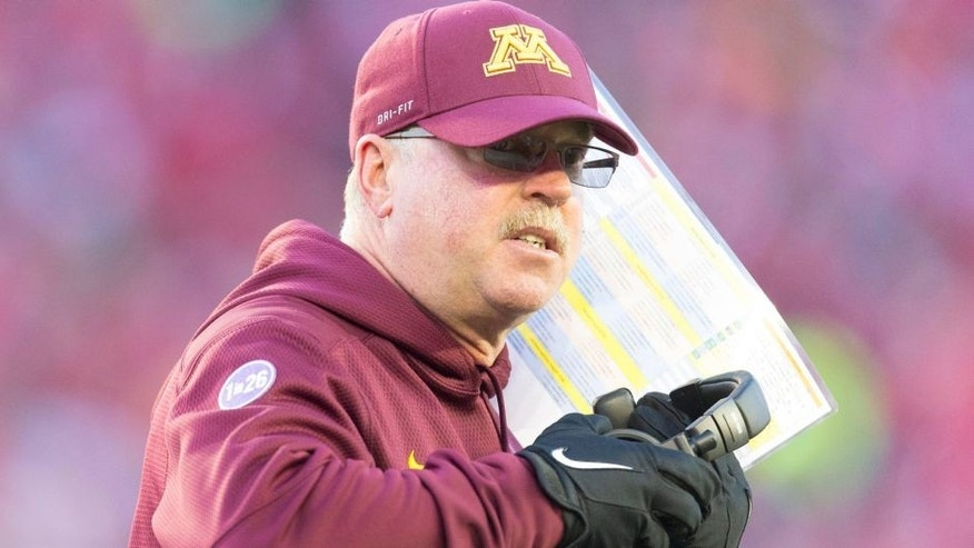 <p>Nov 29, 2014; Madison, WI, USA; Minnesota Golden Gophers head coach Jerry Kill during the second quarter against the Wisconsin Badgers at Camp Randall Stadium. Mandatory Credit: Jeff Hanisch-USA TODAY Sports</p>