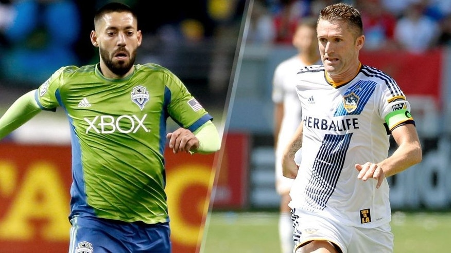 SEATTLE, WA - NOVEMBER 30: Clint Dempsey #2 of the Seattle Sounders FC dribbles against the Los Angeles Galaxy during the Western Conference Final at CenturyLink Field on November 30, 2014 in Seattle, Washington. (Photo by Otto Greule Jr/Getty Images) CARSON, CA - AUGUST 09: Robbie Keane #7 of the Los Angeles Galaxy looks to pass the ball against Seattle Sounders during the second half at StubHub Center on August 9, 2015 in Carson, California. (Photo by Kevork Djansezian/Getty Images)