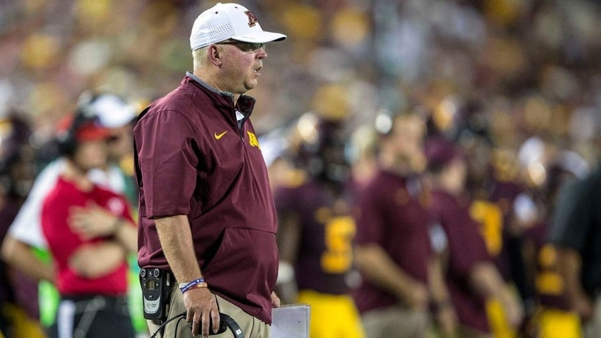 Sep 3, 2015; Minneapolis, MN, USA; Minnesota Golden Gophers head coach Jerry Kill looks on during the second half against the TCU Horned Frogs at TCF Bank Stadium. The TCU Horned Frogs won 23-17. Mandatory Credit: Jesse Johnson-USA TODAY Sports