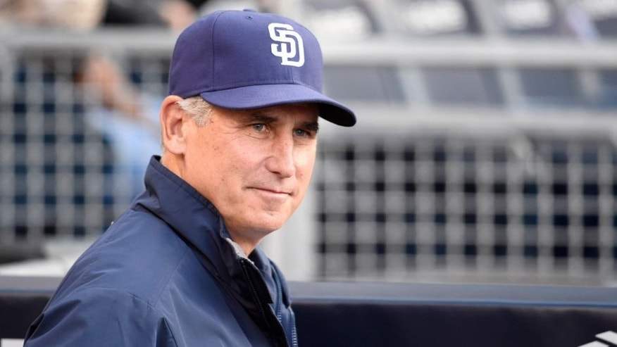 SAN DIEGO, CA - MAY 28: Bud Black #20 of the San Diego Padres sits in the dugout before a baseball game against the Pittsburgh Pirates at Petco Park May 28, 2015 in San Diego, California. (Photo by Denis Poroy/Getty Images)