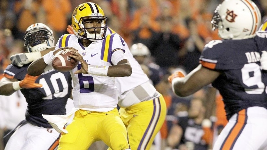Oct 4, 2014; Auburn, AL, USA; LSU Tigers quarterback Brandon Harris (6) looks for a receiver during the first half against the Auburn Tigers at Jordan Hare Stadium. Mandatory Credit: John Reed-USA TODAY Sports