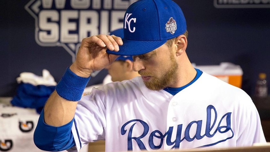 KANSAS CITY, MO - OCTOBER 28: Ben Zobrist #18 of the Kansas City Royals looks on prior to Game 2 of the 2015 World Series against the New York Mets at Kauffman Stadium on Wednesday, October 28, 2015 in Kansas City, Missouri. (Photo by Rob Tringali/MLB Photos via Getty Images)