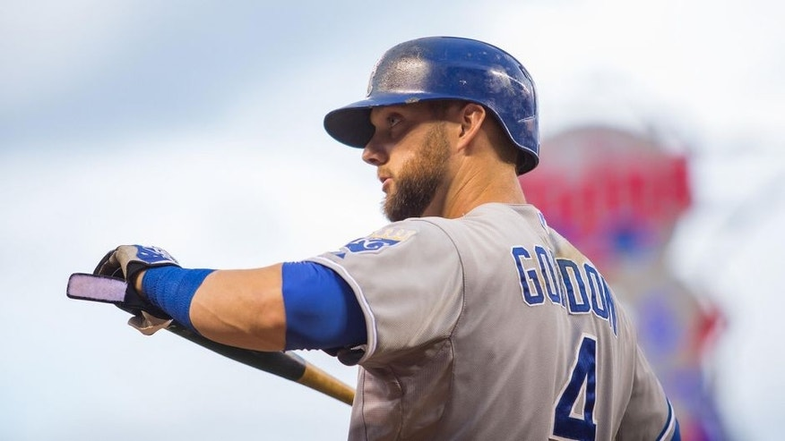 Jun 9, 2015; Minneapolis, MN, USA; Kansas City Royals left fielder Alex Gordon (4) in the second inning against the Minnesota Twins at Target Field. Mandatory Credit: Brad Rempel-USA TODAY Sports