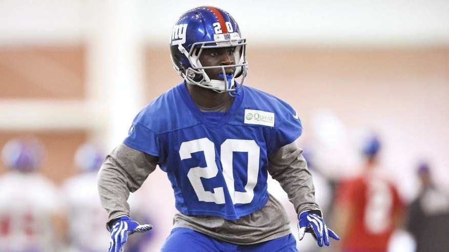 Jun 16, 2015; East Rutherford, NJ, USA; New York Giants cornerback Prince Amukamara (20) takes part in practice during minicamp at Quest Diagnostics Training Center. Mandatory Credit: Steven Ryan-USA TODAY Sports