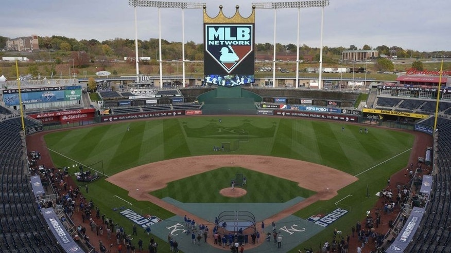 Oct 26, 2015; Kansas City, MO, USA; A general view of the stadium during the New York Mets workout the day before game one of the 2015 World Series against the Kansas City Royals at Kauffman Stadium. Mandatory Credit: Denny Medley-USA TODAY Sports