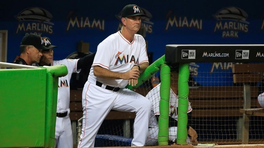 May 18, 2015; Miami, FL, USA; Miami Marlins manager Dan Jennings in the seventh inning of a game against the Arizona Diamondbacks at Marlins Park. The Diamondbacks won 3-2. Mandatory Credit: Robert Mayer-USA TODAY Sports
