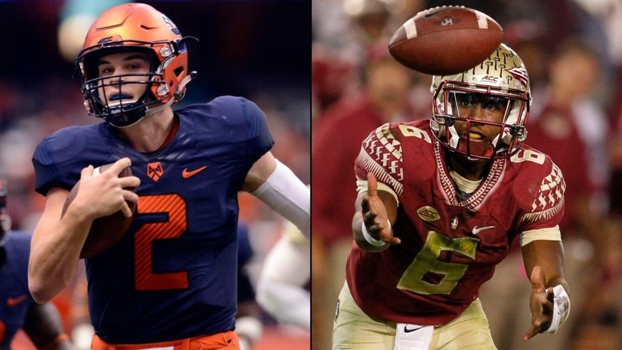 <p>Syracause quarterback Eric Dungey and Florida State quarterback Everett Golson.<br> </p>