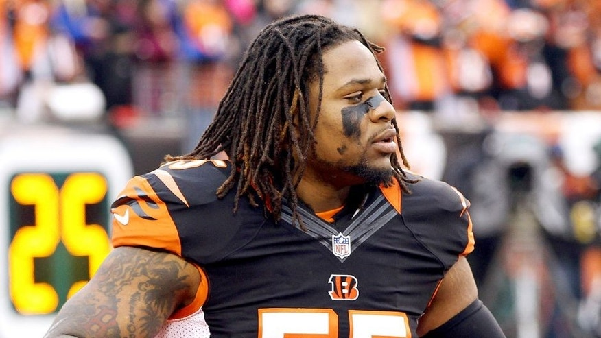 Jan 5, 2014; Cincinnati, OH, USA; Cincinnati Bengals outside linebacker Vontaze Burfict (55) warms up before the AFC wild card playoff football game at Paul Brown Stadium. Mandatory Credit: Pat Lovell-USA TODAY Sports