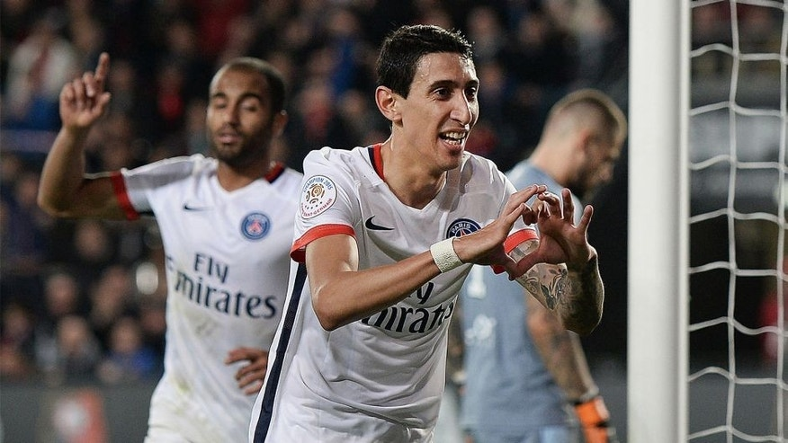 Paris Saint-Germain's Argentinian forward Angel Di Maria celebrates after scoring a goal during the French L1 football match between Rennes and Paris Saint-Germain on October 30, 2015 at the Roazhon Park in Rennes, north-western France. AFP PHOTO / JEAN-SEBASTIEN EVRARD (Photo credit should read JEAN-SEBASTIEN EVRARD/AFP/Getty Images)
