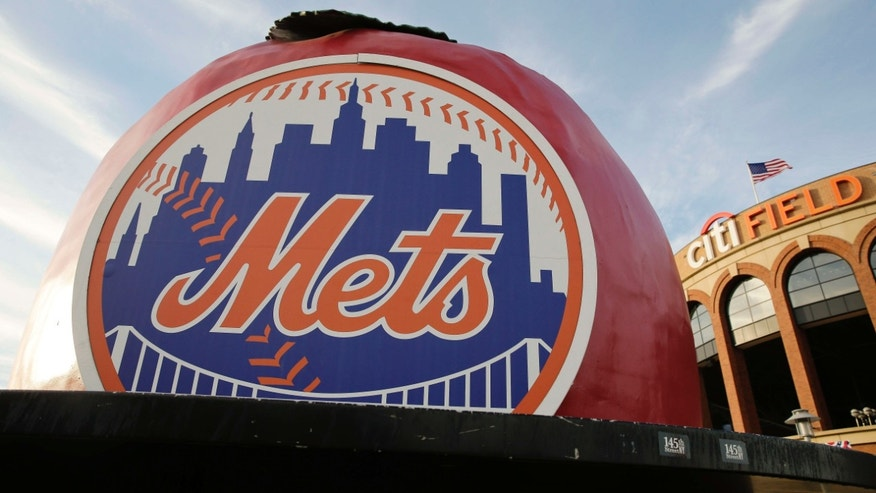Oct. 29, 2015: The New York Mets logo is displayed Citi Field before Friday's Game 3 of the Major League Baseball World Series between the Mets and the Kansas City Royals in New York.