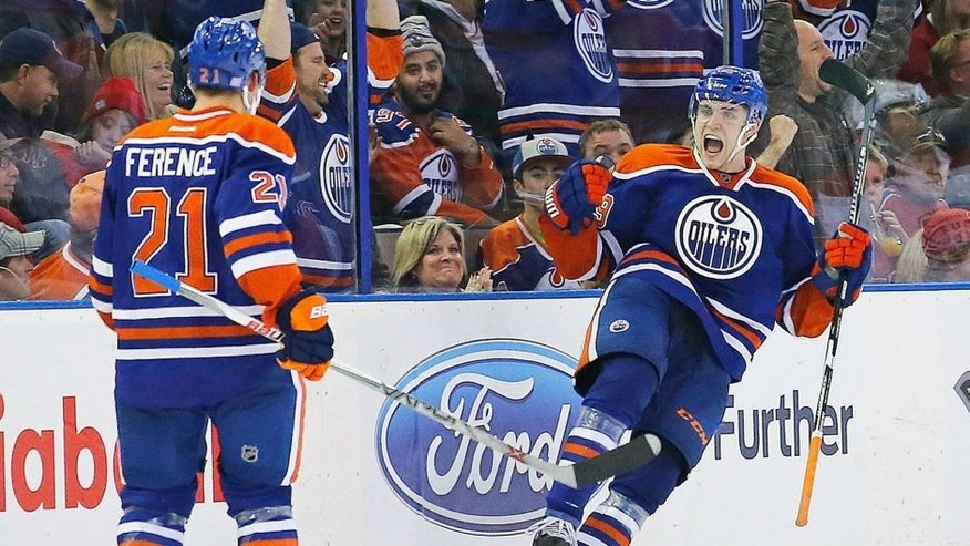 Oct 29, 2015; Edmonton, Alberta, CAN; Edmonton Oilers forward Leon Draisaitl (29) celebrates his game winning goal in the third period against the Montreal Canadiens at Rexall Place. Mandatory Credit: Perry Nelson-USA TODAY Sports