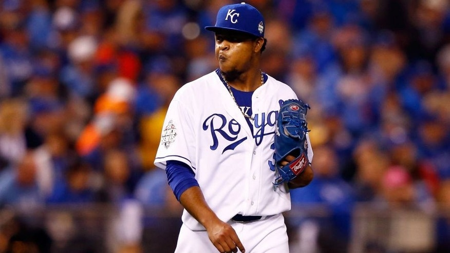 KANSAS CITY, MO - OCTOBER 27: Edinson Volquez #36 of the Kansas City Royals reacts in the sixth inning against the New York Mets during Game One of the 2015 World Series at Kauffman Stadium on October 27, 2015 in Kansas City, Missouri. (Photo by Jamie Squire/Getty Images)