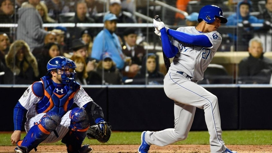 Oct 30, 2015; New York City, NY, USA; Kansas City Royals batter Raul Mondesi strikes out in his major league debut in the fifth inning in game three of the World Series against the New York Mets at Citi Field. Mandatory Credit: Robert Deutsch-USA TODAY Sports