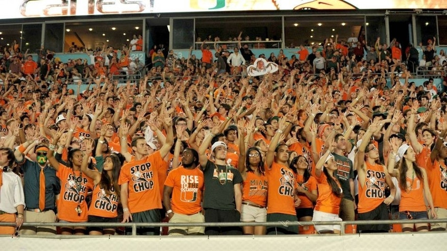 Nov 15, 2014; Miami Gardens, FL, USA; Miami Hurricanes fans cheer on during the second half of a game between the Florida State Seminoles and the Miami Hurricanes at Sun Life Stadium. Mandatory Credit: Steve Mitchell-USA TODAY Sports