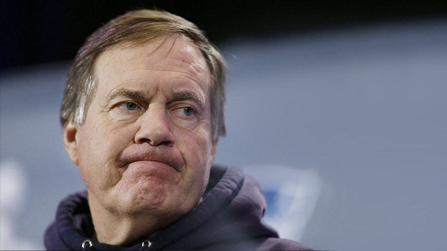 "<p style=""font-family: tahoma, arial, helvetica, sans-serif; font-size: 12px;"">New England Patriots head coach Bill Belichick answers questions during a news conference Wednesday, Jan. 28, 2015, in Chandler, Ariz. The Patriots play the Seattle Seahawks in NFL football Super Bowl XLIX Sunday, Feb. 1, in Phoenix. (AP Photo/Mark Humphrey)</p>"