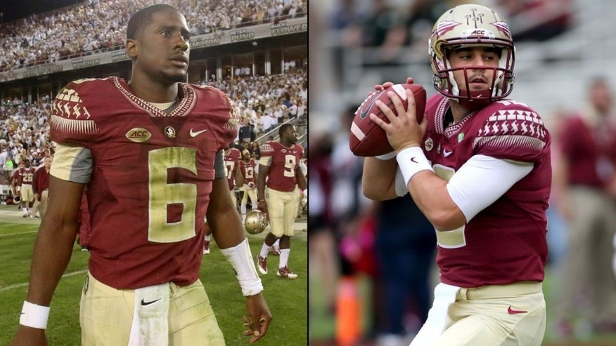 <p>Florida State Seminoles quarterbacks Everett Golson (left) and Sean Maguire (right).<br> </p>