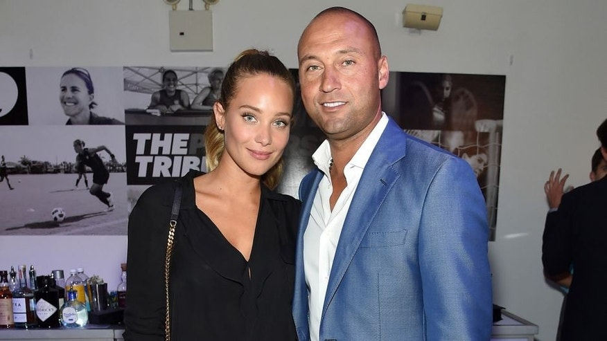 NEW YORK, NY - AUGUST 24: Model Hannah Davis and Baseball player Derek Jeter and and founding publisher of The Players' Tribune attend the Player's Tribune party to celebrate women in sports and the 2015 U.S. Open on August 24, 2015 in New York City. (Photo by Jamie McCarthy/Getty Images for The Players' Tribune)