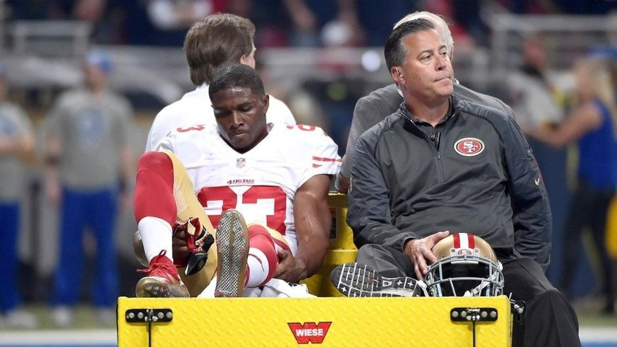 Nov 1, 2015; St. Louis, MO, USA; San Francisco 49ers running back Reggie Bush (23) is carted off the field after being injured during the first half against the St. Louis Rams at the Edward Jones Dome. Mandatory Credit: Denny Medley-USA TODAY Sports