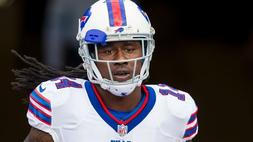 ORCHARD PARK, NY - AUGUST 14: Sammy Watkins #14 of the Buffalo Bills makes his way onto the field before the game against the Carolina Panthers on August 14, 2015 during a preseason game at Ralph Wilson Stadium in Orchard Park, New York. Carolina defeats Buffalo 25-24. (Photo by Brett Carlsen/Getty Images)