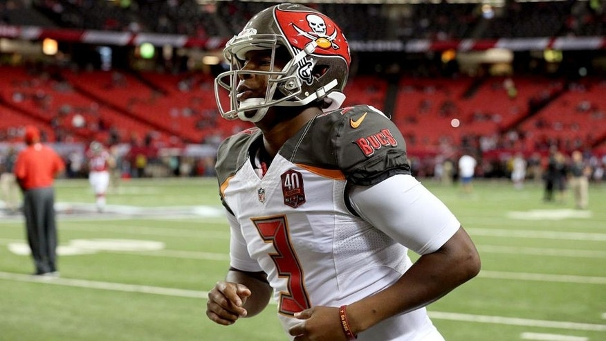 Nov 1, 2015; Atlanta, GA, USA; Tampa Bay Buccaneers quarterback Jameis Winston (3) is shown before their game against the Atlanta Falcons at Georgia Dome. Mandatory Credit: Jason Getz-USA TODAY Sports