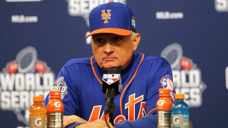 NEW YORK, NY - NOVEMBER 01: Terry Collins #10 of the New York Mets speaks to the media after Game Five of the 2015 World Series at Citi Field on November 1, 2015 in the Flushing neighborhood of the Queens borough of New York City. (Photo by Doug Pensinger/Getty Images)