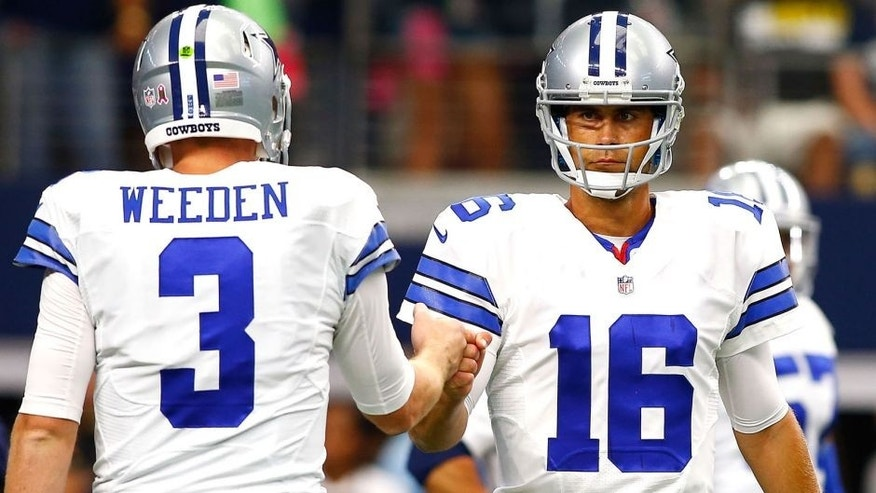ARLINGTON, TX - OCTOBER 11: Dallas Cowboys Brandon Weeden #3 of the Dallas Cowboys and Matt Cassel #16 of the Dallas Cowboys fist bump before the start of their NFL game against the New England Patriots at AT&T Stadium on October 11, 2015 in Arlington, Texas. (Photo by Mike Stone/Getty Images)