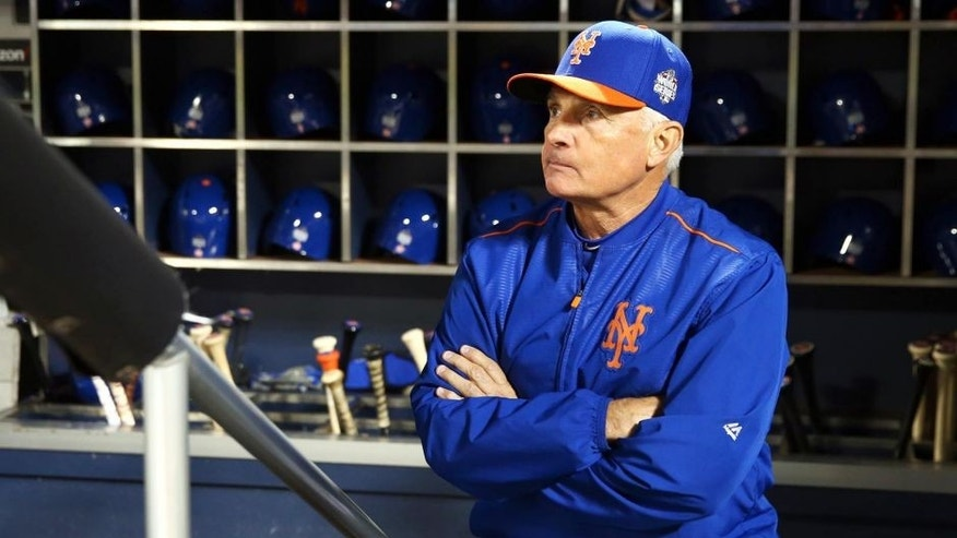 NEW YORK, NY - NOVEMBER 1: Manager Terry Collins #10 of the New York Mets looks on prior to Game 5 of the 2015 World Series against the Kansas City Royals at Citi Field on Sunday, November 1, 2015 in the Queens borough of New York City. (Photo by Rob Tringali/MLB Photos via Getty Images)