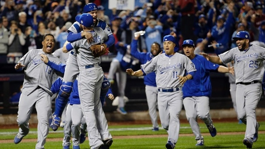 The Kansas City Royals celebrate after Game 5 of the Major League Baseball World Series against the New York Mets Monday, Nov. 2, 2015, in New York. The Royals won 7-2 to win the series. (AP Photo/David J. Phillip)