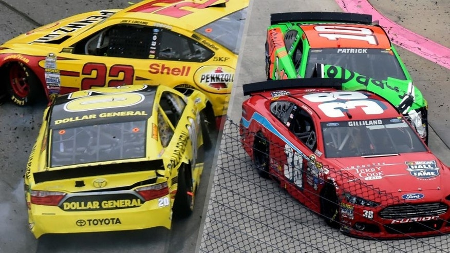 Joey Logano (22) and Matt Kenseth (20) tangle in Ttun 1 during the NASCAR Sprint Cup Series auto race auto race at Martinsville Speedway in Martinsville, Va., Sunday, Nov. 1, 2015. (AP Photo/Don Petersen) Danica Patrick (10) runs into the back of David Gilliland (38) during the NASCAR Sprint Cup Series auto race auto race at Martinsville Speedway in Martinsville, Va., Sunday, Nov. 1, 2015. (AP Photo/Don Petersen)