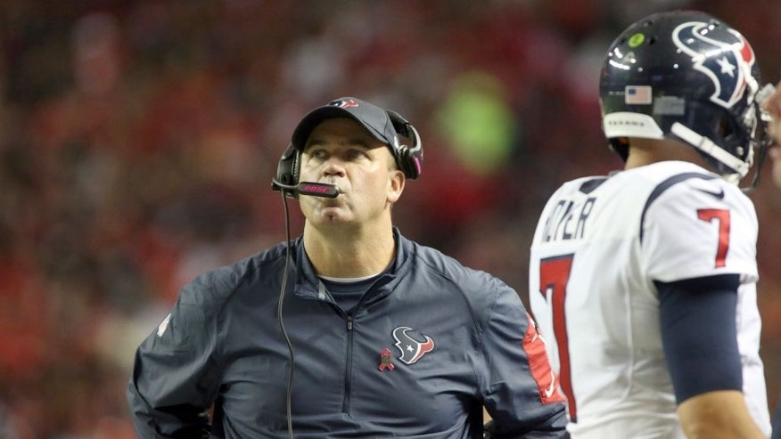 Oct 4, 2015; Atlanta, GA, USA; Houston Texans head coach Bill O'Brien and quarterback Brian Hoyer (7) are shown on the sideline in the fourth quarter of their game against the Atlanta Falcons at the Georgia Dome. Mandatory Credit: Jason Getz-USA TODAY Sports