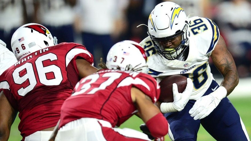 Aug 22, 2015; Glendale, AZ, USA; San Diego Chargers running back Dreamius Smith (36) rushes the ball against the Arizona Cardinals at University of Phoenix Stadium. The Chargers won 22-19. Mandatory Credit: Joe Camporeale-USA TODAY Sports