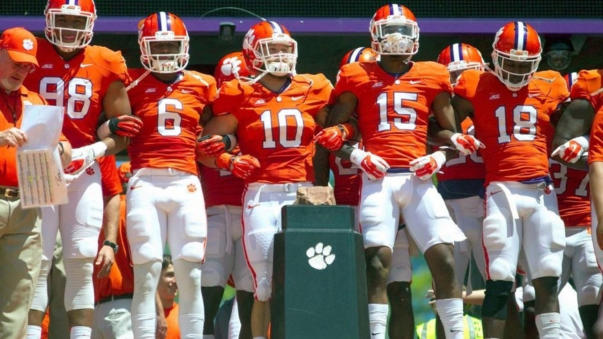 Apr 11, 2015; Clemson, SC, USA; Clemson Tigers players prior to the Clemson spring game at Clemson Memorial Stadium. Mandatory Credit: Joshua S. Kelly-USA TODAY Sports