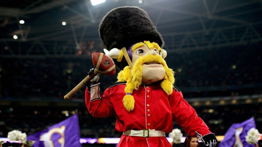 LONDON, ENGLAND - SEPTEMBER 29: Viktor the Viking the Minnesota mascot entertains the fans during the NFL International Series game between Pittsburgh Steelers and Minnesota Vikings at Wembley Stadium on September 29, 2013 in London, England. (Photo by Jamie McDonald/Getty Images)