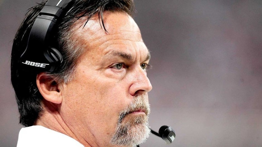 Sep 7, 2014; St. Louis, MO, USA; St. Louis Rams head coach Jeff Fisher looks on as his team plays the Minnesota Vikings during the first half at the Edward Jones Dome. Mandatory Credit: Jeff Curry-USA TODAY Sports