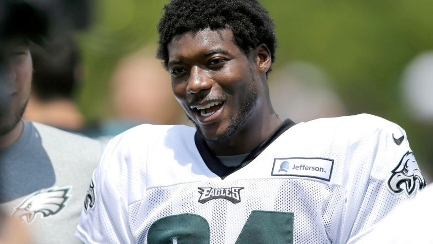 Philadelphia Eagles' Byron Maxwell moves off the field after practice at NFL football training camp, Friday, Aug. 7, 2015, in Philadelphia. (AP Photo/Matt Rourke)